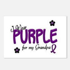 I Wear Purple For My Grandpa 14 Postcards (Package