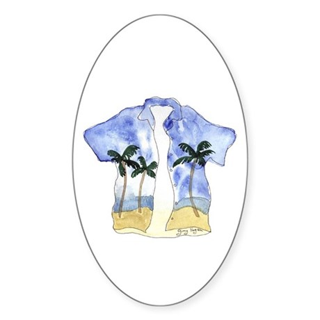 Hawaiian Shirt Oval Sticker
