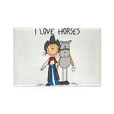 I Love Horses Rectangle Magnet (10 pack)