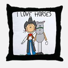 I Love Horses Throw Pillow