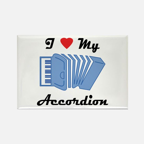 I Love My Accordion Rectangle Magnet