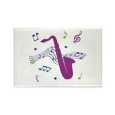 Saxophone Music Rectangle Magnet