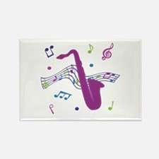 Saxophone Music Rectangle Magnet