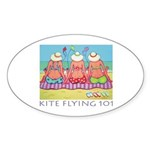 Kite Flying 101 Beach Oval Sticker