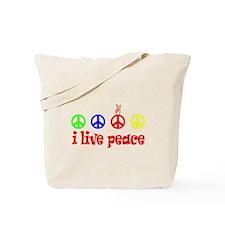 """""""i Live Peace"""" Tote Bag"""