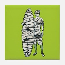 Surfing Halloween Mummy Tile Coaster