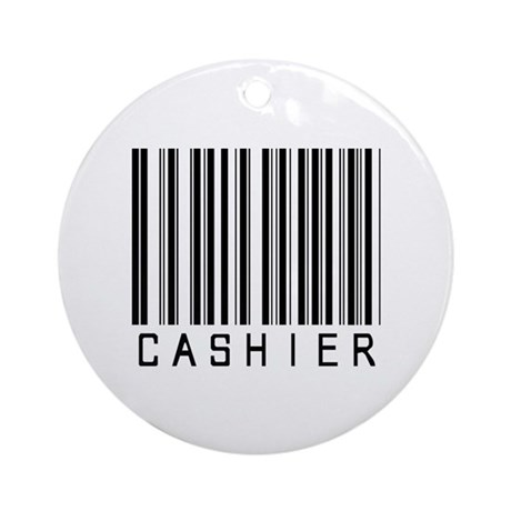 Cashier Barcode Ornament (Round)