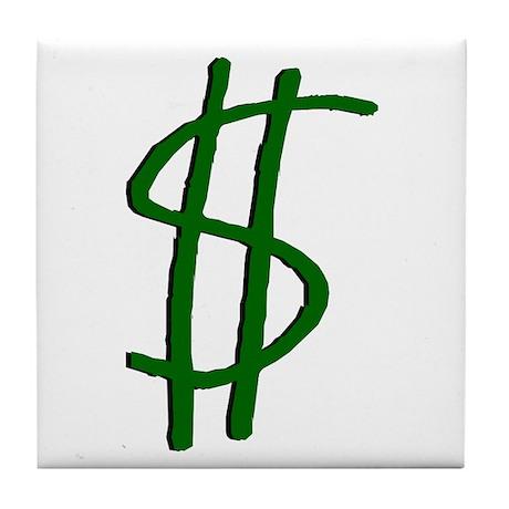 Money Dollar Sign Tile Coaster