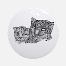 snow leopard mom and cub Ornament (Round)