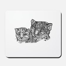 snow leopard mom and cub Mousepad
