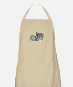 snow leopard mom and cub BBQ Apron