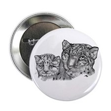 """snow leopard mom and cub 2.25"""" Button (10 pack)"""