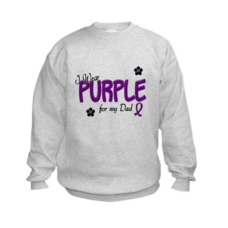 I Wear Purple For My Dad 14 Kids Sweatshirt