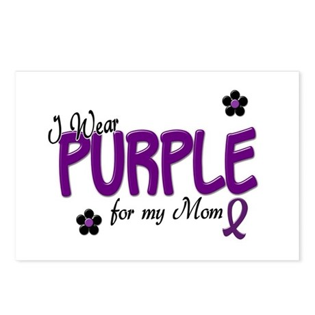 I Wear Purple For My Mom 14 Postcards (Package of
