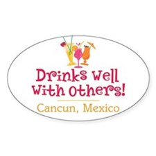 Drinks Well_Cancun - Oval Decal