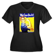 Rosie the Riveter Women's Plus Size V-Neck Dark T-