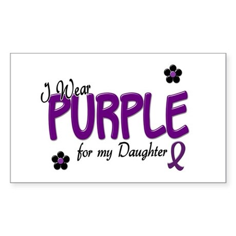 I Wear Purple For My Daughter 14 Sticker (Rectangl