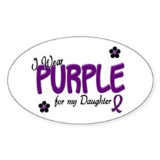 I Wear Purple For My Daughter 14 Oval Decal