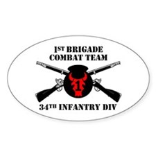 1st BCT 34th Infantry Division (1) Oval Decal