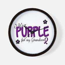 I Wear Purple For My Grandson 14 Wall Clock