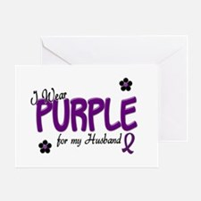 I Wear Purple For My Husband 14 Greeting Card