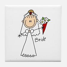 Stick Figure Bride Tile Coaster