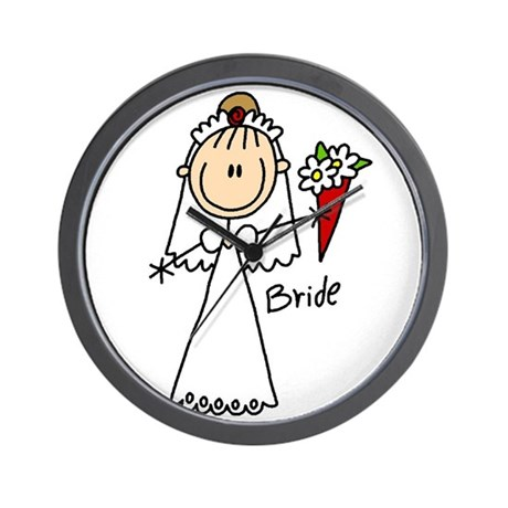 Stick Figure Bride Wall Clock