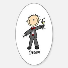 Stick Figure Groom Oval Decal