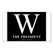 """W the President (Black)"" Rectangle Decal"