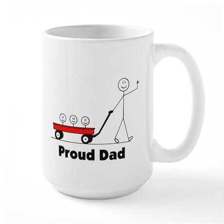 Proud Dad 3 kids Large Mug