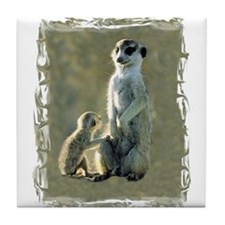 MEERKAT MOM AND PUP Tile Coaster