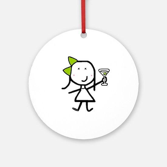 Girl & Martini Ornament (Round)