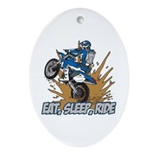 Eat, Sleep, Ride Motocross Oval Ornament