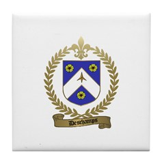 DESCHAMPS Family Crest Tile Coaster