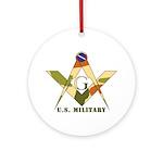 Military Free Mason Ornament (Round)