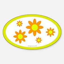 Orange Flower Oval Decal