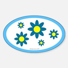 Blue Flower Oval Decal