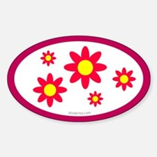 Pink Flower Oval Decal