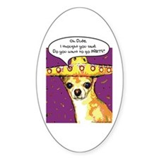 Party Chihuahua Oval Stickers