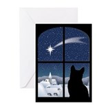 Silent night cat christmas Greeting Cards (10 Pack)