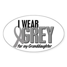 I Wear Grey For My Granddaughter 10 Oval Decal