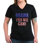 Obama Yes We Can Women's V-Neck Dark T-Shirt