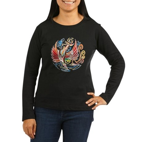 """Oriental Phoenix"" Women's Long Sleeve Dark T-Shir"