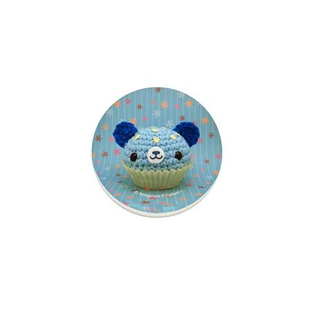 Amigurumi Blue/Flower cupcake bear Button
