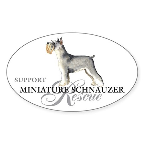 Miniature Schnauzer Rescue Oval Sticker