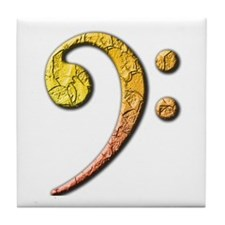 bass clef 3 Tile Coaster