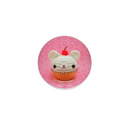 Amigurumi Vanilla Cupcake Bear Button