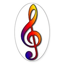 treble clef 1 Oval Decal