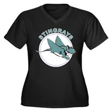 Stingrays Women's Plus Size V-Neck Dark T-Shirt