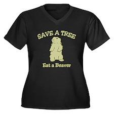 Save a Tree, Eat a Beaver Women's Plus Size V-Neck
